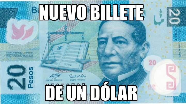 meme billete 20 pesos nuevo dolar